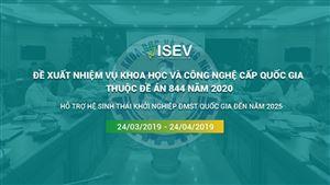 Thông báo tiếp nhận đề xuất nhiệm vụ khoa học và công nghệ cấp quốc gia thuộc Đề án 844 thực hiện từ năm 2020