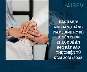 Thông báo công bố danh mục nhiệm vụ hằng năm, định kỳ để tuyển chọn thuộc Đề án 844 bắt đầu thực hiện từ năm 2021/2022