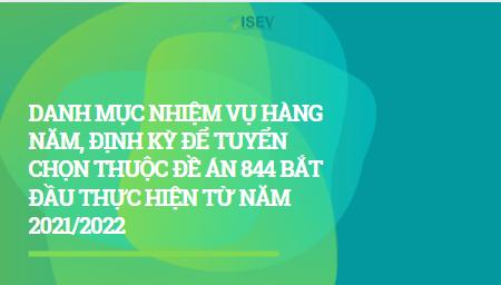 CÔNG BỐ DANH MỤC NHIỆM VỤ HÀNG NĂM, ĐỊNH KỲ ĐỂ TUYỂN CHỌN THUỘC ĐỀ ÁN 844 BẮT ĐẦU THỰC HIỆN TỪ NĂM 2021/2022